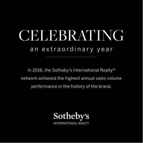 The Sotheby's International Realty Brand Achieved $95 Billion in Global Sales Volume for 2016